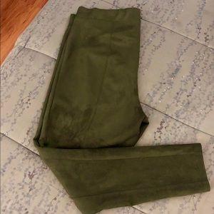 Velvet Leggings - Olive Green